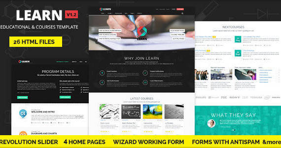 Box 01 learn courses educational template.  large preview