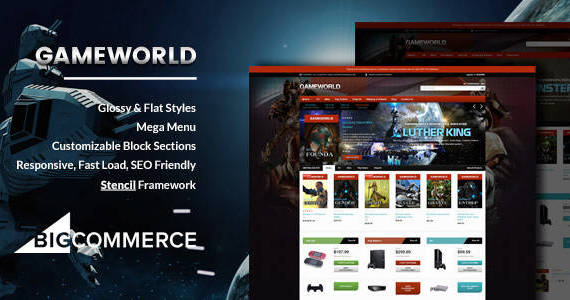 Box 01 gameworld game store responsive bigcommerce theme.  large preview