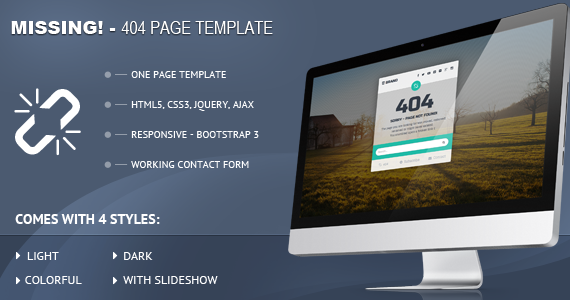 Box 01 missing 404 responsive page template preview.  large preview