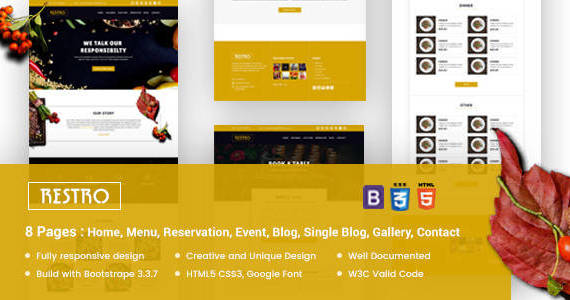 Box restro responsive restaurant template preview.  large preview