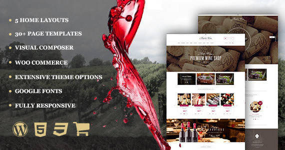 Box 01 wine responsive restaurant winery wordpress shop.  large preview