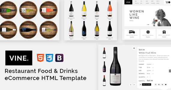 Box vine restaurant food drinks ecommerce html template preview 2.  large preview