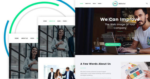 Box seomarket seo  marketing agency website template 64428 original