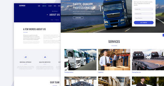 Box express logistics and transportation multipage website template 64426 original