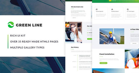 Box green line environmental multipage website template 64427 original