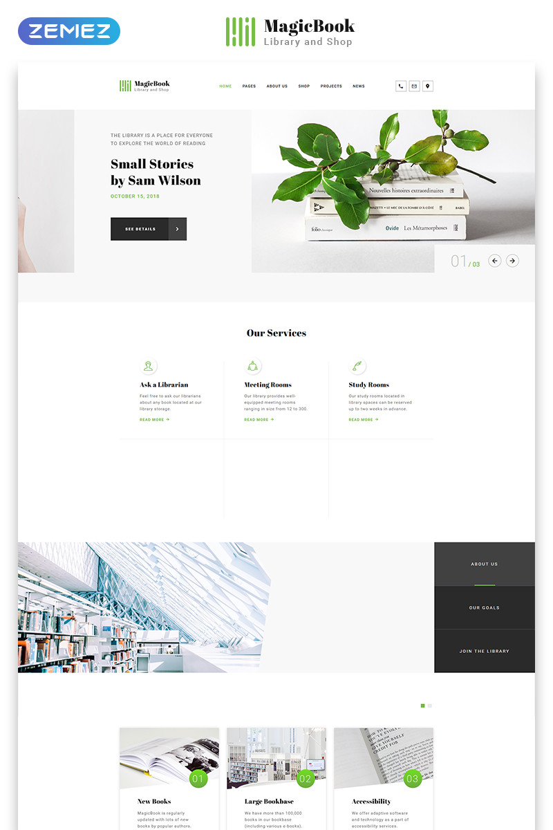 Magicbook library  shop html5 website template 46251 original