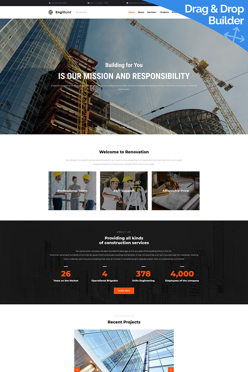 Engibuild construction company moto cms 3 template 68182 original