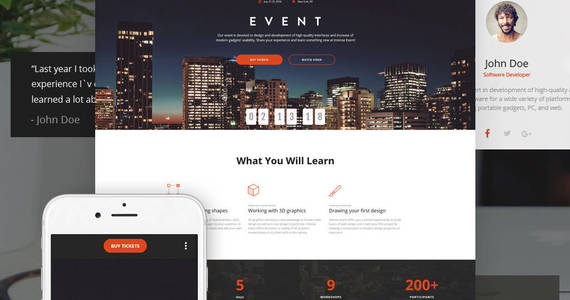 Box intense event planner html5 landing page template 62198 original