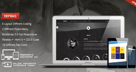 Box 01 defrag onepage personal portfolio theme screen.  large preview