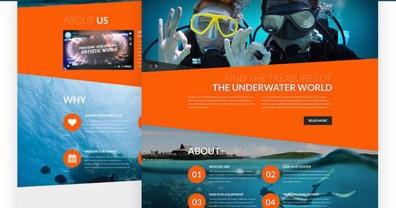 Box diving club sports  outdoors  diving responsive joomla template 61260 original