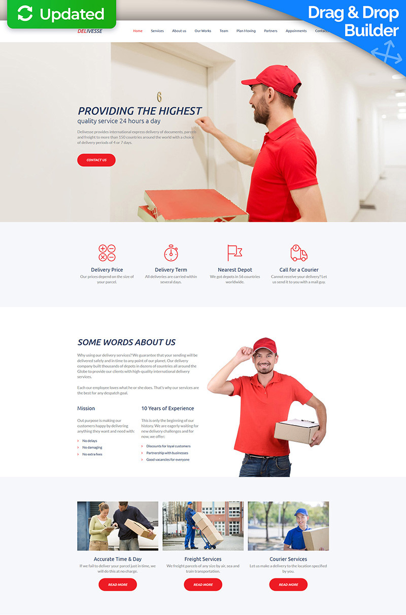 Delivesse delivery services premium moto cms 3 template 63475 original