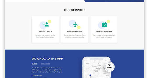 Box etaxi taxi service multipage classic html website template 61233 original