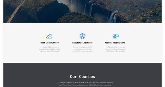 Box blue hill flight school multipage creative html website template 53326 original