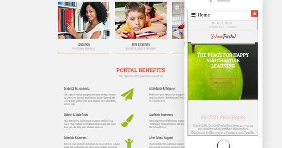 Box school portal education multipage creative joomla template 61330 original