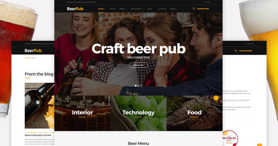 Box beerpub food and restaurant multipage website template 62175 original