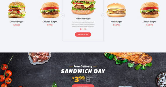 Box quick food fast food restaurant responsive multipage website template 61177 original