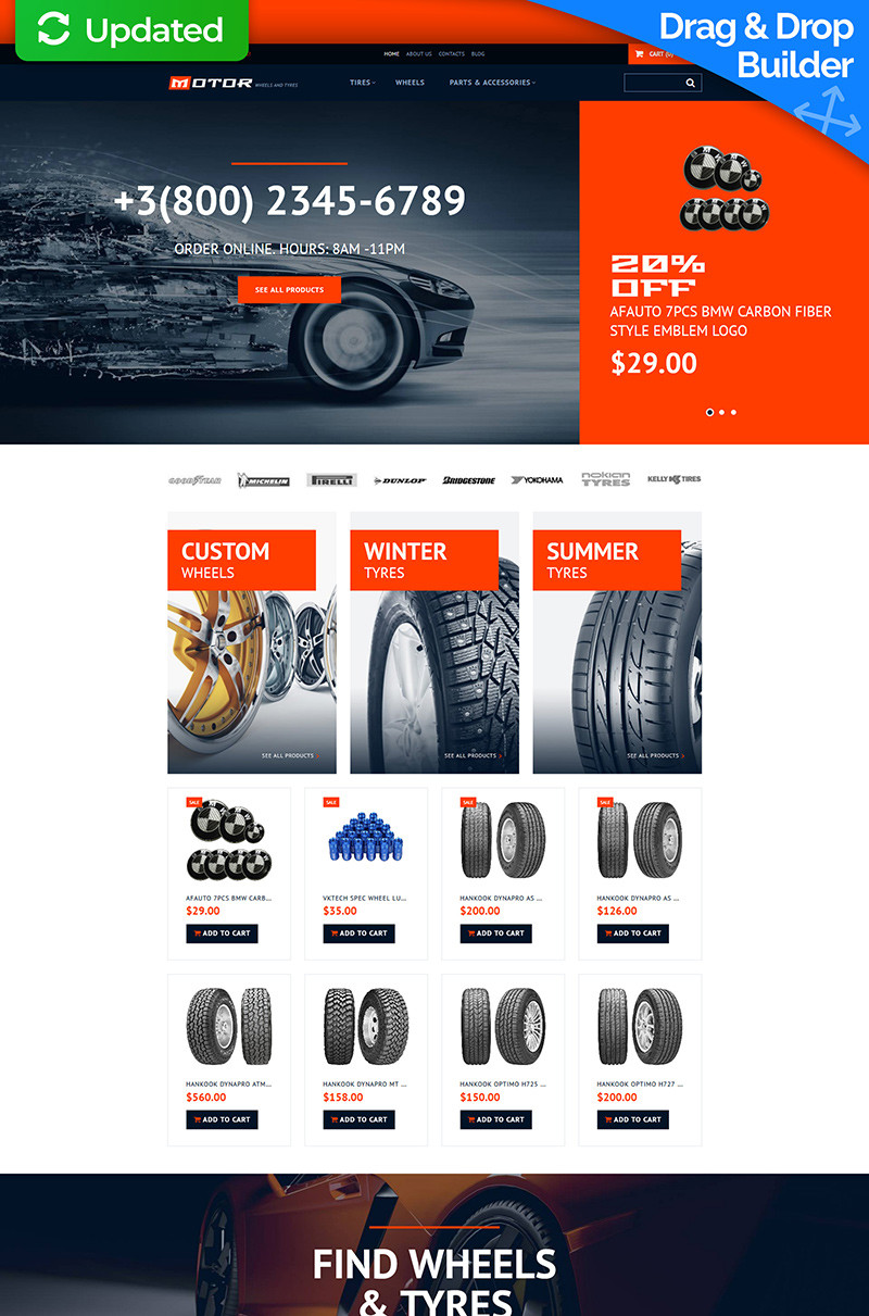 Wheels  tires responsive motocms ecommerce template 65057 original