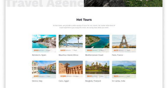 Box hot deals travel agency clean multipage html website template 52960 original