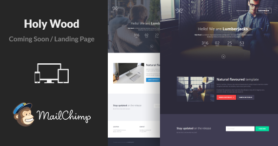 Box 01 holy wood minimal multipurpose coming soon landing page html template.  large preview