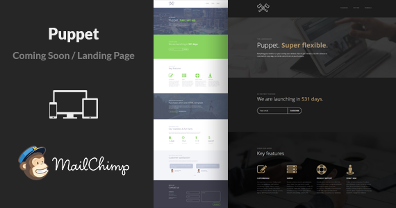 Box 01 puppet minimal multipurpose coming soon landing page html template.  large preview