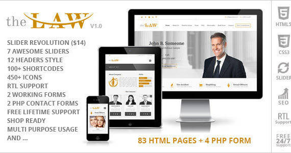 Box the law lawyer legal attorney html5 website template v1.  large preview